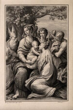 view The Virgin Mary with the Christ Child, Saint Augustine, Michael the Archangel, Saint Jerome and Saint Margaret of Antioch. Drawing by F. Rosaspina, c. 1830, after G.F.M. Mazzola, il Parmigianino.