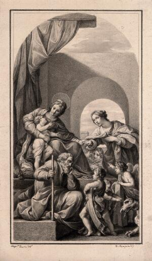 view The mystic marriage of St Catherine of Alexandria to the Christ child; Saint Joseph looks at angels who bear attributes of St Barbara and St Margaret. Drawing by F. Rosaspina, c. 1830, after A. Tiarini.