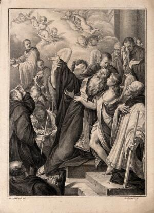 view The death of St Benedict. Drawing by F. Rosaspina, c. 1830, after D.M. Canuti.