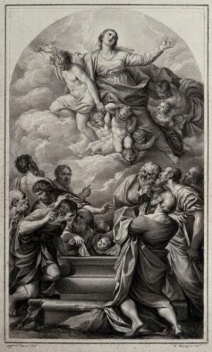 view The Assumption of the Virgin Mary; below the apostles crowd around her empty tomb. Drawing by F. Rosaspina, c. 1830, after Agostino Carracci.