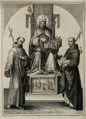view Petronius, bishop of Bologna, with St Francis of Assisi and St Dominic. Drawing by F. Rosaspina, c. 1830, after L. Costa, 1502.