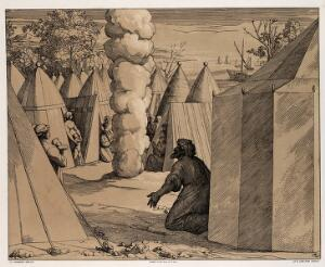 view God appearing as a column of smoke in the middle of the Israelites camp. Colour lithograph by L. Gruner after N. Consoni after Raphael.