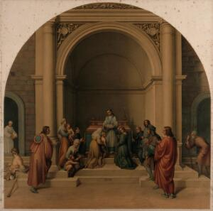 view Saint Filippo Benizzi healing children. Chromolithograph, 1869, by L. Gruner after C. Mariannecci after Andrea del Sarto, 1510.