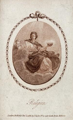 view Religion seated on clouds with the Bible and a crown. Stipple engraving, 1786.