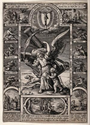 view A personification of Obedience with her attributes is attacked from the sides by eight vices; above her appears Christ on the cross; (top left) the sacrifice of Isaac; (right) Jacob sends Joseph to his brothers; (below) three examples of disobedience, including the expulsion from Paradise. Engraving after H. Wierix .