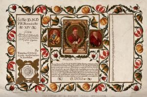 view A private papal indulgence. Colour lithographs.