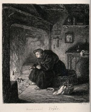 view A fat friar sitting on an open fireplace and frying a drumstick. Etching by Charles West Cope.