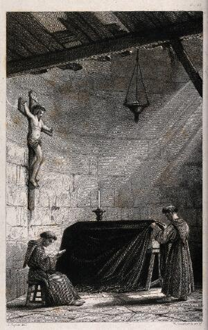 view Two monks guarding a coffin inside an old building. Etching by W. Greatbach after J. Taylor.
