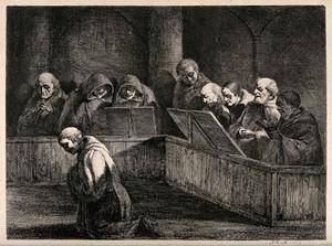 view Monks at prayer. Etching by J.J. de Boissieu, 1795.