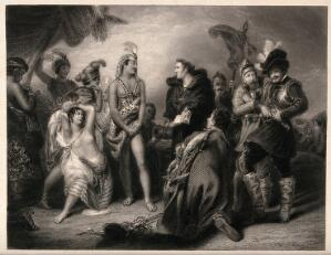 view Vincente Valverde trying to persuade the Inca to convert to Christianity rather than be massacred by Pizzarro. Engraving by W. Greatbach after H.P. Briggs.