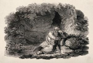 view A hermit in meditation: the hermit of Warkworth, Northumbria. Wood engraving by Luke Clennell.