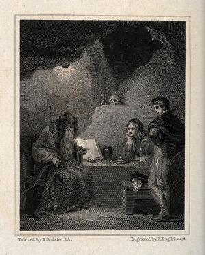 view An episode in 'Gil Blas': Gil Blas and Don Alphonso, on the road from Toledo to Cuenca, receive advice from a hermit who subsequently reveals himself as their friend Don Raphael in disguise. Engraving by F. Engleheart after R. Smirke.