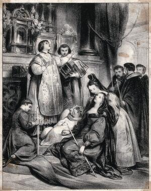 view A priest pronouncing a benediction on a dead child. Lithograph.