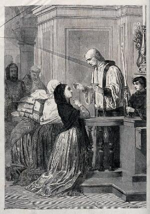 view A catholic communion. Wood engraving by H. Linton after Bocourt.