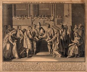 view The sacrament of the Roman Catholic church; Confirmation. Etching.