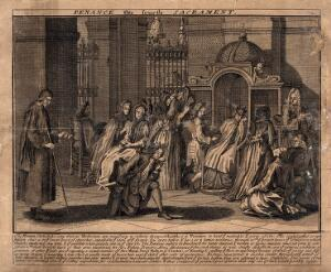 view The sacrament of the Roman Catholic church; Confession. Etching.