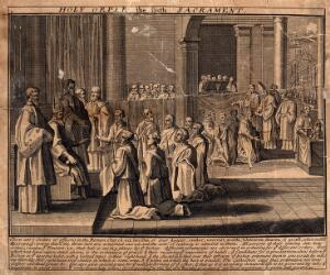 view The sacrament of the Roman Catholic church; the Holy Orders. Etching.