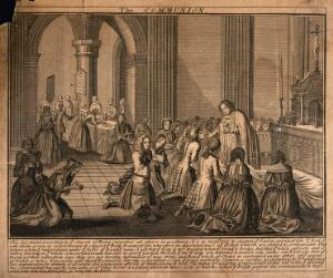 view The sacraments of the Roman Catholic church: Communion. Etching.