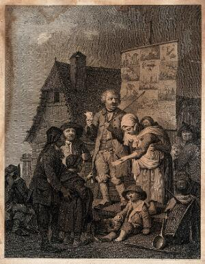 view A man narrating his experiences in public, while his wife hands out leaflets. Etching.