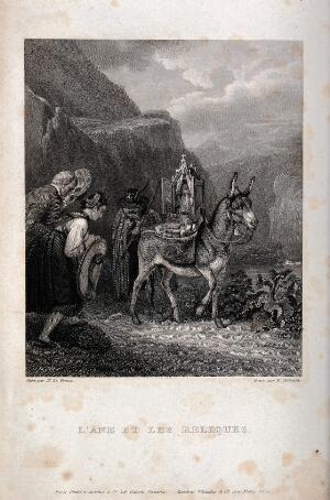 view Traveller with an ass carrying a shrine, which is venerated by a couple. Engraving by R. Corbould after X. Le Prince.