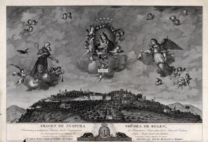 view The Virgin of Belen with Saint Paul the hermit and Archangel Raphael; and the hermitage of the Sierra de Cordoba. Engraving by F. Jordan, 1827, after Diego de Monroy y Aguilera, 1825.