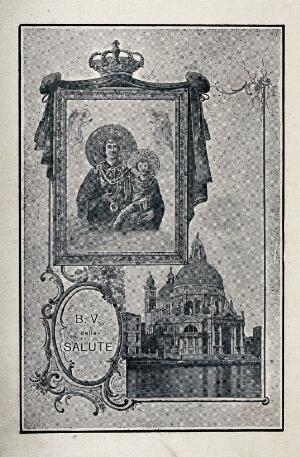 view The Blessed Virgin of Health in Beata Vergine della Salute in Venice and a view of the church. Photomechancial print.