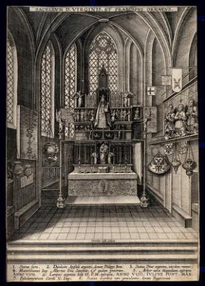 view Shrine of the Blessed Virgin in an unidentified church in the Netherlands. Engraving by Cornelius Galle.