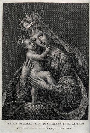 view The Virgin Consoler of the Afflicted in S. Maria del Suffragio in Via Giulia at Rome. Engraving.