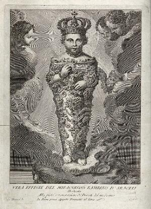 view The Christ Child of S. Maria in Aracoeli in Rome. Etching by C. Nolli after A. Masucci.