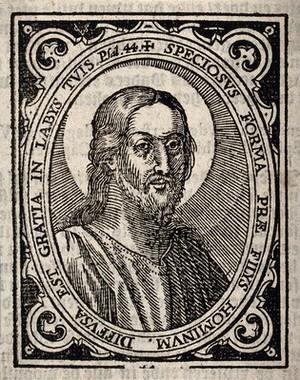 view Jesus Christ. Woodcut.