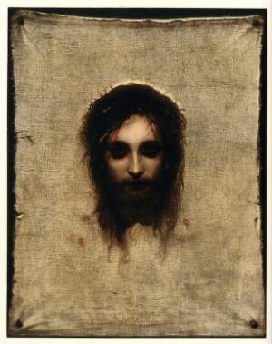 view The veronica (sudarium of Saint Veronica), representing the face of Christ. Colour collotype after Gabriel Max.