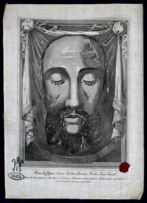 view The veronica (sudarium of Saint Veronica), representing the face of Christ. Engraving.