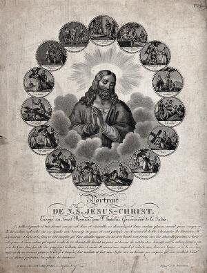 view Jesus Christ surrounded by fifteen stations of the Passion. Engraving.