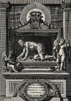 view The Christ as Man of Sorrows in the College Church of Antequera. Engraving by J.M. Martin.