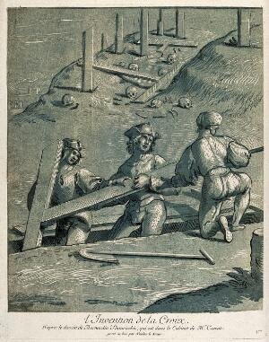 view The discovery of the Cross. Colour woodcut by N. Le Sueur after B. Betti, il Pintoricchio.