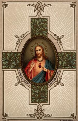 view Christ blessing the beholder and showing his Sacred Heart. Colour lithograph.