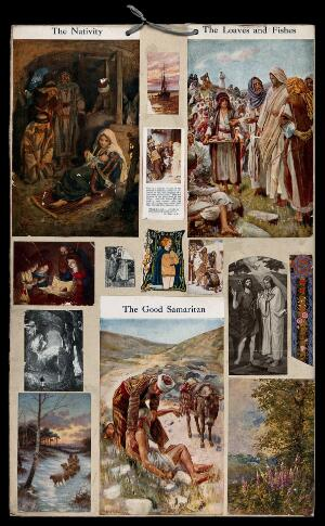 view Episodes in the Bible and examples of devotional practice. Collage of colour lithographs and process prints after Harold Copping and others.