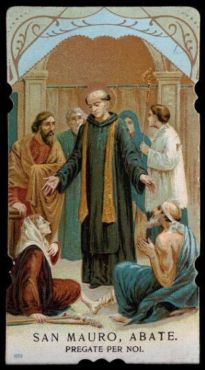 view Saint Maurus the Abbot venerated by a lame woman and a poor man. Colour process print.