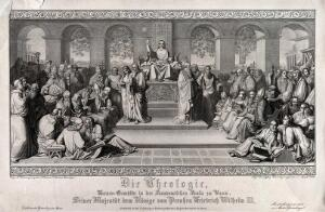 view An allegory of theology with the catholic faction on the left, the protestant faction on the right. Engraving by J. von Keller after C.H. Hermann, E. Föerster and F.J.J. Götzenberger after C.H. Hermann.