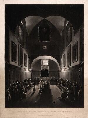 view The interior of a Capuchin monastery, with monks at their devotions. Mezzotint by W. Giller after Granet.