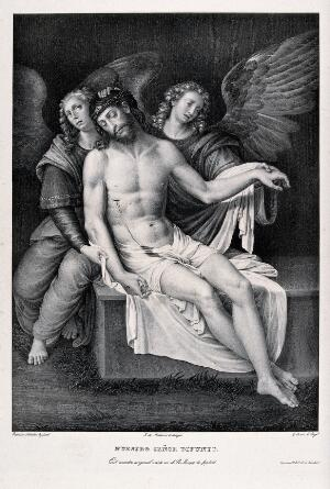 view Angels presenting the dead body of Christ. Lithograph by G. Sensi after F. de Ribalta.