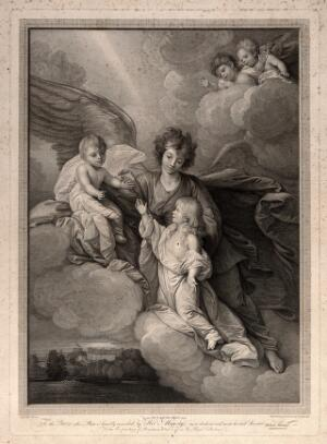 view An angel conducting the Princes Octavius and Alfred to heaven on a cloud: Windsor Castle below. Engraving by R. Strange after B. West.