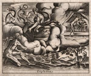 view Ceres punishes Erysichthon of Thessaly with perpetual hunger. Engraving by J. Matheus, 1619.