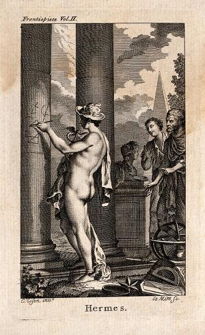 view Mercury [Hermes]. Etching by N. Le Mire after C. Eisen.