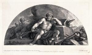 view Vulcan [Hephaestus]. Engraving by C. Bloemaert after Pietro da Cortona.
