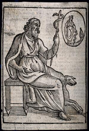 view Aesculapius. Woodcut.