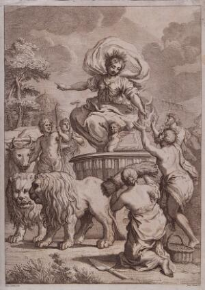 view Ceres (Demeter) on a chariot drawn by lions receives offerings from peasants; representing harvest. Etching by G. Zocchi after P. da Cortona.
