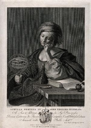 view The Phrygian sibyl. Engraving by G. Petrini after P. Salari after G.F. Barbieri, il Guercino.
