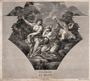 view Polyhymnia and Erato. Engraving by F. Godefroy after G.B. Wicar after Pietro da Cortona.