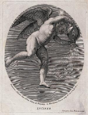 view Lucifer [the morning star]. Engraving by G.H. Frezza, 1704, after P. de Petris after F. Albani.